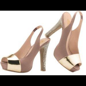 Paula Abdul Forever taupe open toe exotic pump